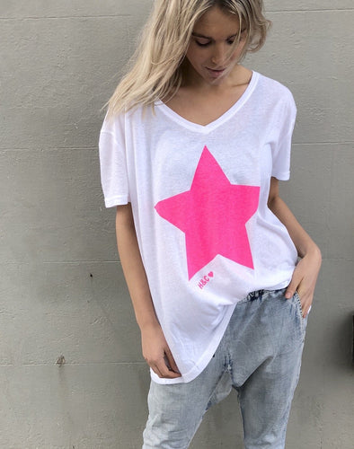 CAT HAMMILL WHITE WITH PINK STAR TSHIRT Hammill and co Star Star Tee Hammill and Co Melbourne Stockist Hammill and Co Star Tshirt Hammill and Co Stockist Hammill and Co Melbourne Stockist Hammill + Co Sydney Stockist Cat Hammill Brisbane Stockist