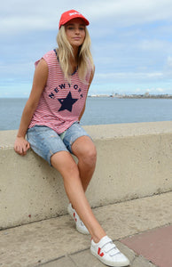 HAMMILL AND CO STAR TANK RED WHITE STRIPE TANK BASIC STATE - HAMMILL AND CO AFTERPAY STORE