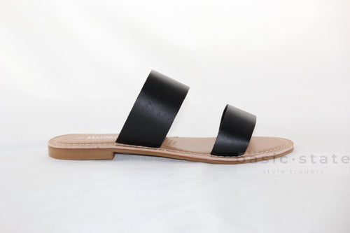 Human Shoes Dakota Leather Black Slides - Dakoda Leather Slides - Basic State Australia