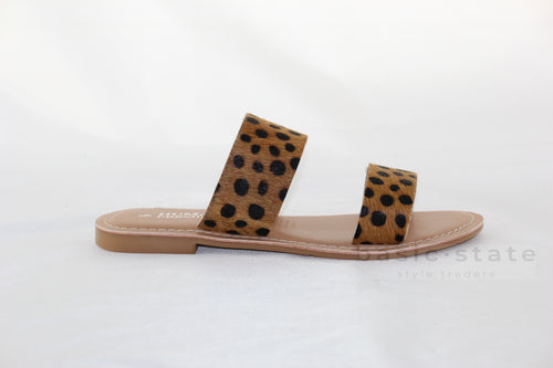 HUMAN DAKOTA LEOPARD PRINT ANIMAL PRINT LEATHER SLIDES DAKOTA LEOPARD PRINT LEATHER SHOES - BASIC STATE AUSTRALIA