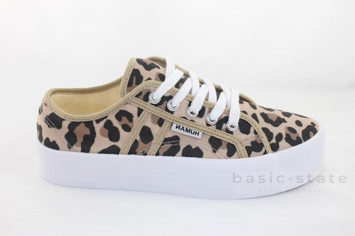 Human Shoes Lift Canvas Flatform Sneakers Ocelot Animal Print - Human Leopard Print Shoes - Leopard Print Sneakers - Basic State Australia