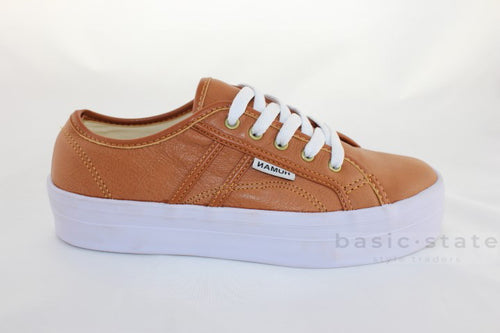 Human Cass Leather Sneakers - Tan Leather Thick Sole Shoes - Tan Leather Brown Leather Human Cass Sneakers - Basic State