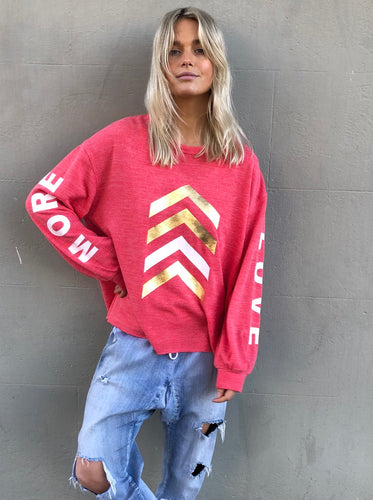 Cat Hammill More Love Jumper Red Marle Washed Red Basic State Hammill and Co Australian Stockist