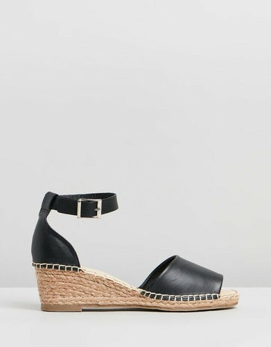 Black Leather Helene Wedge Espadrille Heals Human Leather Wedges Human leather shoe stockist Basic State