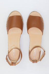 Helene Leather Wedge Heels || Tan