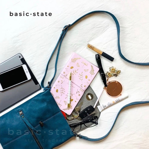Basic State Rugged Hide Stockist Tayla Cross Body Bag Midnight Blue