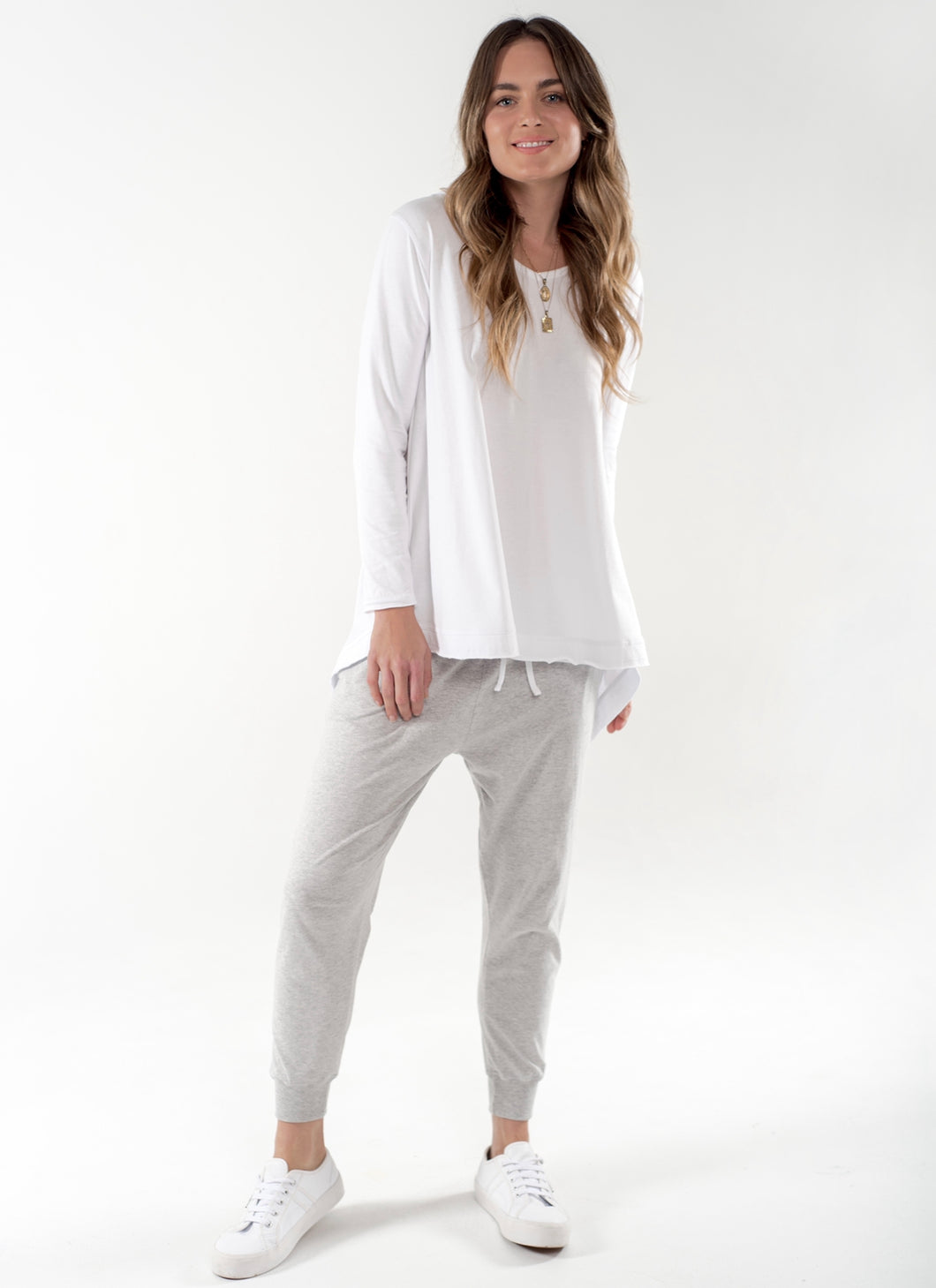 Cle Australian Made Cle Organic Cotton Basics Juliet Long Sleeve Tee - Basic State Australia