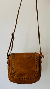 Rugged Hide Poe Leather Studded Bag - Tan Leather Bag - Basic State