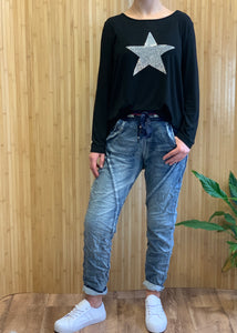 Italian Star Ralph Denim Jeans italian Star Ralph Pants Shona Diamante Star Long Sleeve Tee Diamante Star Top Diamante Star Black Top Basic State Shona Star Top