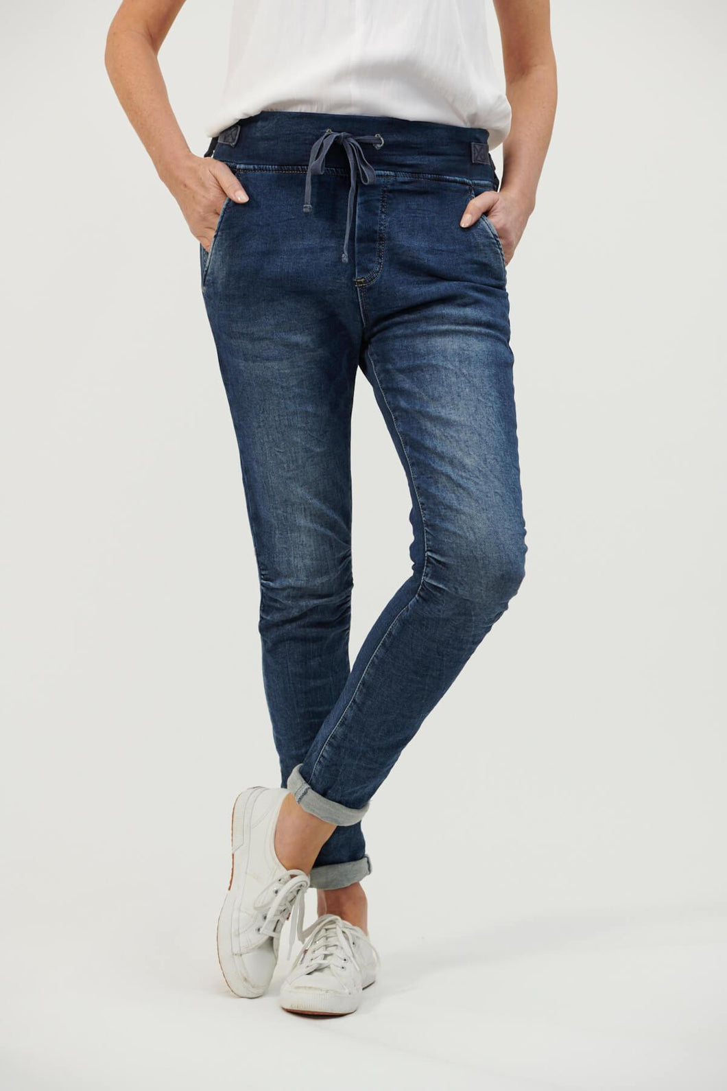 ITALIAN STAR PULL UP JEANS DENIM JOGGERS ITALIAN STAR TIE WAIST DENIM JOGGERS - BASIC STATE