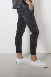 Jac and Mooki Black Denim Pants, Black Denim Joggers, Jeans, Elasticated Waist Basic State