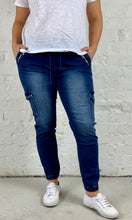Joey Joggers Mid-wash Denim Pants Casual Elastic Waistband Pants Denim Lounge Pants - Basic State
