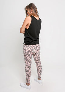 Lainie Lounge Pants Joggers - Pink & Grey Leopard - Basic State Australia