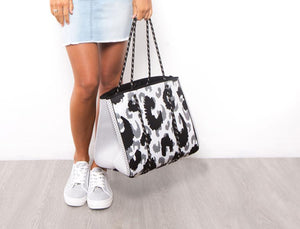 Neoprene Bag - Grey Leopard Print (with BONUS detachable pouch)
