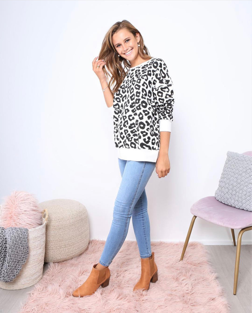 Alicia Animal Print Jumper Alicia Leopard Print Top Leopard Lounge Sweater Basic State