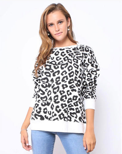 Leopard Print Lounge Sweater Leopard Print Top Leopard Print Jumper Leopard Print Sweater Black and White Leopard Print Black white Animal Print Basic State