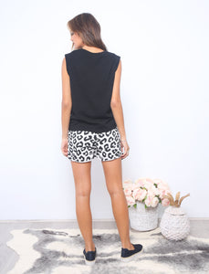 Dina Shorts, Leopard Print Shorts, Black and white leopard print, animal print shorts basic state