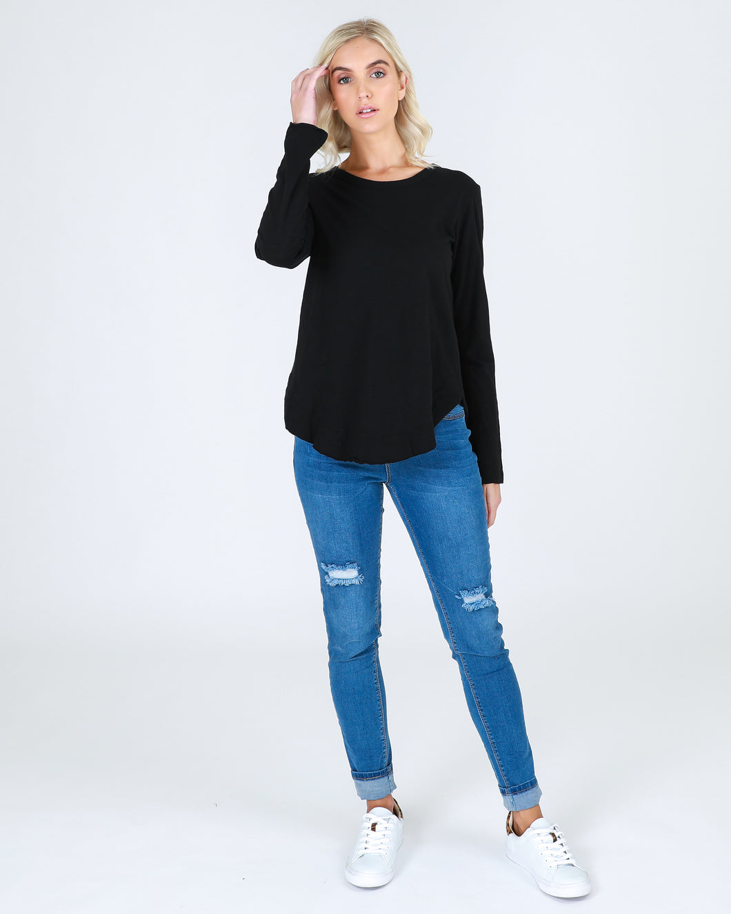 THIRD STORY LONG SLEEVE MOSMAN TOP, TSHIRT BLACK, BASIC STATE LONGER LENGTH. LAYERING TOP
