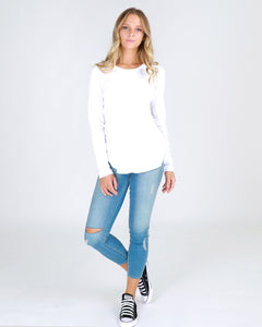 3RD STORY CLOTHING WHITE LONG SLEEVE LOOSE FIT RELAXED FIT LONGER LENGTH BASIC STATE STYLE TRADERS