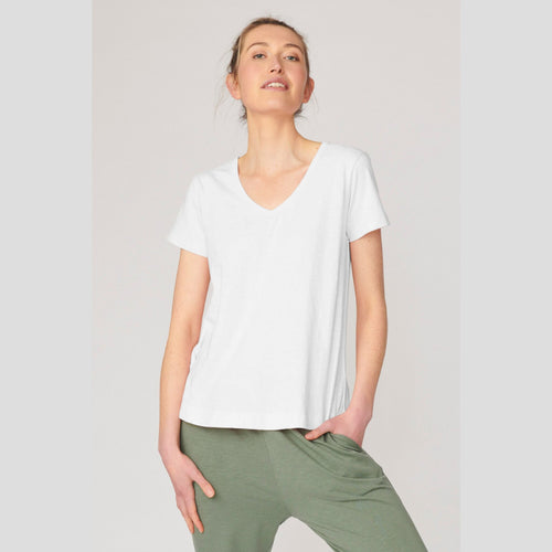 Lulu Organic Clothing V Neck Melrose Tee - Basic State Melrose V Neck Tee Lulu Organic Essentials Stockist