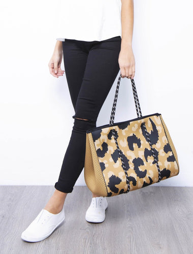 Neoprene Bag - Tan Leopard Print (with BONUS detachable pouch)