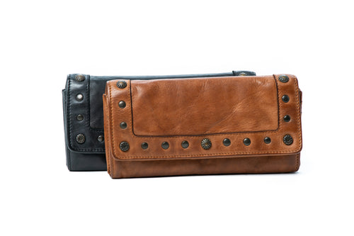 Rugged Hide - 'Sable' Studded Leather Wallet