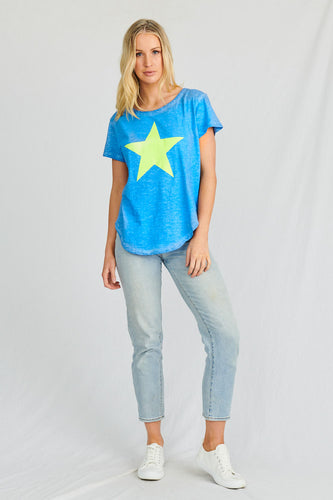 Stardust Crew Timetraveller Tee - Blue tee with Gold Star - Basic State Stardust Crew Stockist