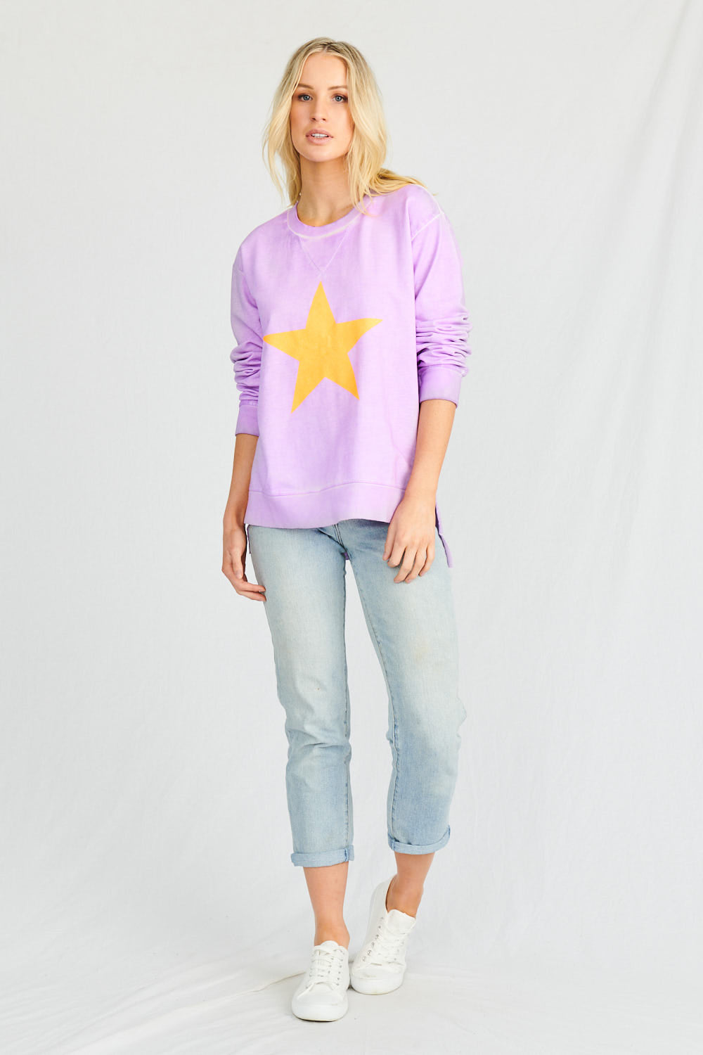 Stardust Crew Space Age Sweater - Glitter Star Jumper Glitter Star Sweater - Stardust Crew Stockist Basic State Australia Lilac Stardust Crew Jumper