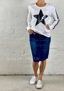 Phoenix Denim Skirt - Denim Pencil Skirt - 3rd Story Thunder Star Jumper - Third Story Thunder Star Jumper - Sat and Sun Star Jumper -Basic State