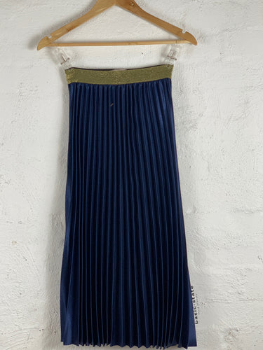 Navy Blue Pleated Midi Skirt Metalic Pleated Skirt Basic State