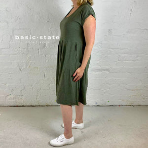 Plus Size 3rd Story Evelyn Dress in Khaki Basic State