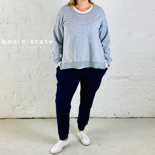PLUS SIZE CLOTHING 3RD STORY THIRD STORY ULVERSTONE JUMPER SWEATER grey marle basic state