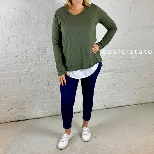 Plus Size Clothing 3rd Story Strumpet Khaki, Strumpet Long Sleeve Tee in Size 20 Size 22 Size 18- Basic State