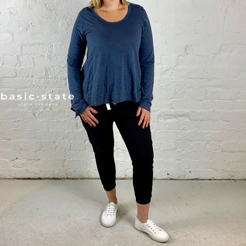 PLUS SIZE CURVE CLOTHING 3RD STORY PLUS SIZE CLOTHING THIRD STORY STRUMPET LONG SLEEVE TSHIRT TEE indigo blue basic state
