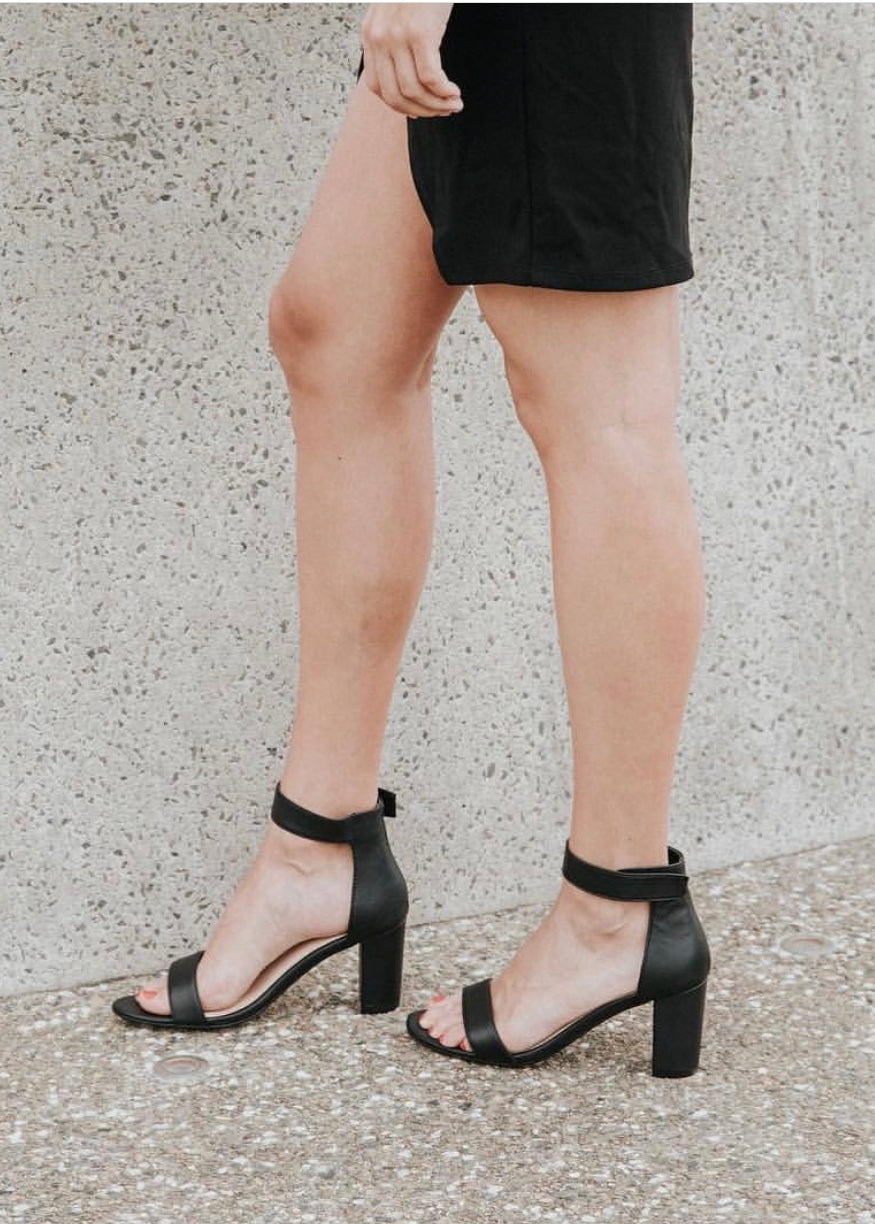 Buy Comfortable Strappy Heels Portia Black Leather Heels Block Heels Basic State Australia