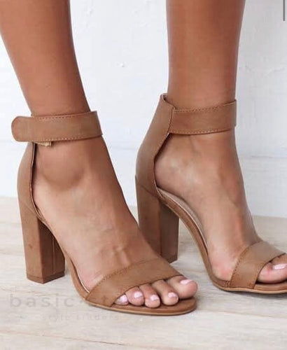 Buy Comfortable Strappy Heels Portia Tan Leather Heels Block Heels Basic State Australia