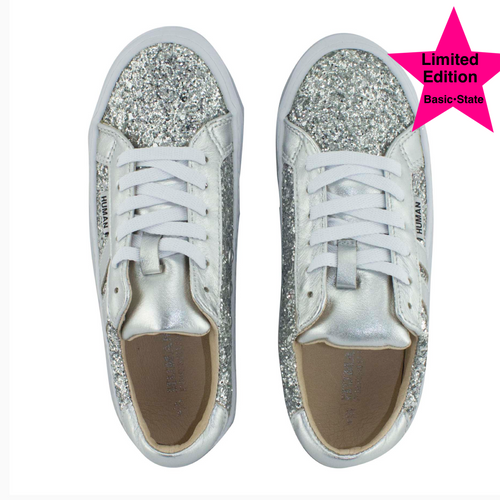 Silver Glitter Sneakers Glitter Leather Sneakers Human premium leather glitter sneakers Human Premium Stockist Buy Pratt Sneakers Online