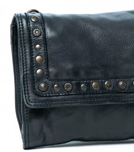Rugged Hide Puma Leather Studded Bag - Black Leather - Basic State