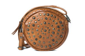 Rugged Hide Geneva Round Studded Bag Tan Leather - Basic State Australia