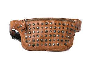 Rugged Hide Miami Studded Bum Bag Miami Fanny Pack Tan Leather Bum Bag