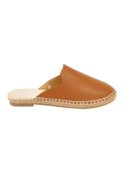 Riley Leather Slides Riley Tan Leather Shoes Riley Tan Mules Basic State