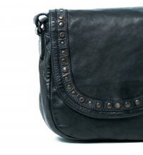 Rugged Hide Poe Leather Studded Bag - Black Studded Leather Bag - Basic State