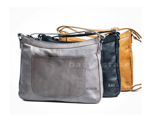 Rugged Hide Ladies Bag - Mali Leather Bag - available in Tan Black or Mushroom Leather - BASIC STATE