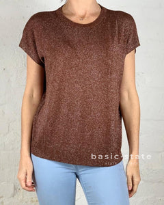 Running w Scissors Slouch Knit Tee - Metallic Tshirt - Chocolate Brown - Basic State