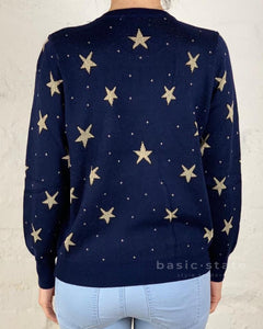 Fitted Star Jumper Knitted Jumper Running w Scissors || Gold Star Knit Sweater Basic State