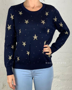 Running w Scissors || Gold Star Knit Sweater Navy Gold Star Jumper Basic State