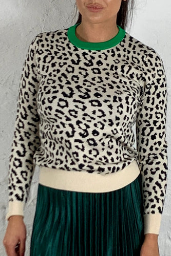 Leopard Print Jumper with Green Neck Basic State, Running w Scissors Jumper Leopard Print