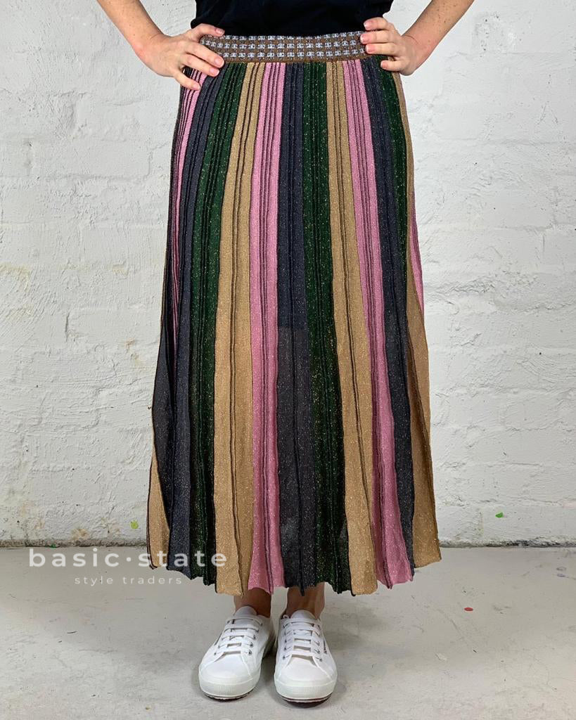 Running w Scissors Pleated Lurex Maxi Skirt Pink Pleated Metallic Skirt Long Pleated Multicolour skirt Basic State
