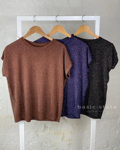 Running w Scissors Lurex Slouch Knit Tee - Brown, Navy Blue, Black - Basic State