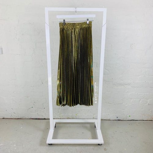 Long Gold Pleated Skirt, Metallic Pleated Skirt, Running w Scissors Gold Pleated Skirt - Basic State